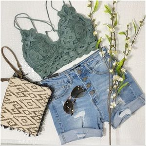 LAST ONE! Teal-Gray Lace Padded Bralette